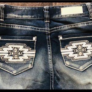 Skinny Rock&Roll Cowgirl Jeans 27x32 Aztec Pocket